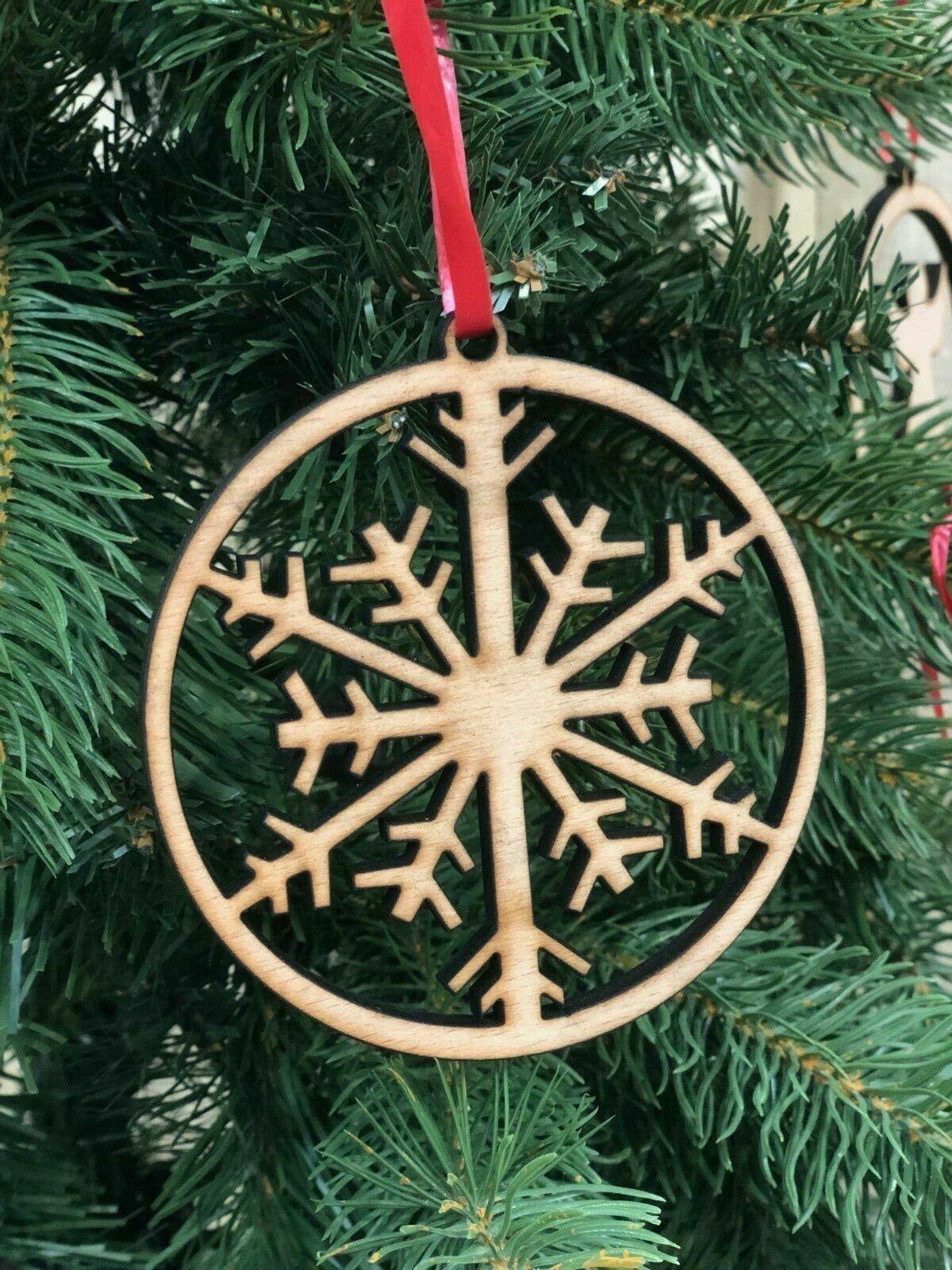 Wooden Christmas Tree Ornament Decoration Xmas Snowflake Bauble Ply Wood Gift Uk Ebay