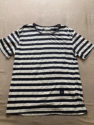 acne studios t-shirt navy/white striped rgoletto face cotton Size Large