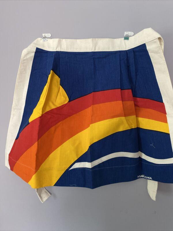 Vintage Marushka Screen Print Apron Sun/rainbow EUC Textile Art
