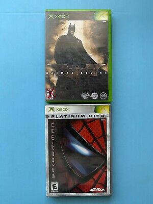 Batman Begins & Spider-Man Xbox Lot Complete Very Nice Shape!