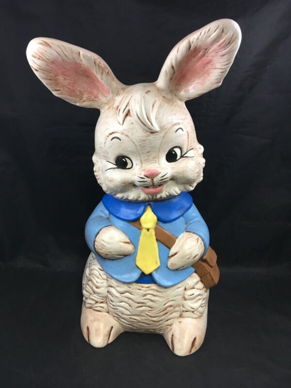 Large Vintage Ceramic Rabbit Figurine Hand Painted Easter Bunny Decoration