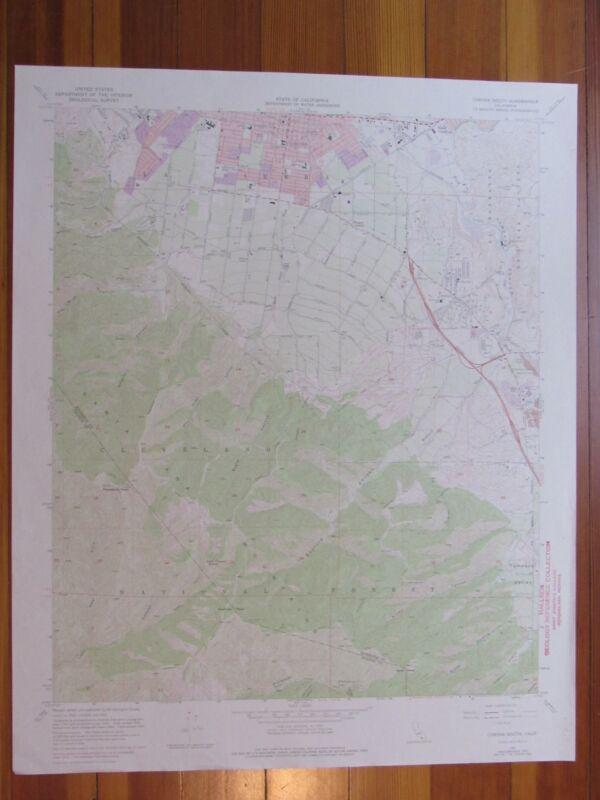 Corona South California 1975 Original Vintage USGS Topo Map