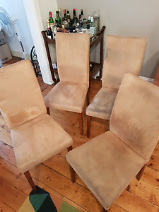 Set of four tan microsuede dining chairs comfortable fabric seats Ascot Vale Moonee Valley Preview