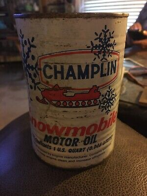Original Vintage Champlin Snowmobile Motor Oil Metal Quart Can Full