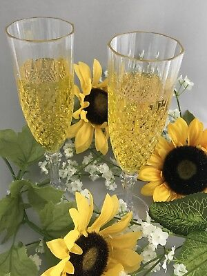 Clear Crystal Plastic Champagne Flute Glasses Wedding New Years - Dozen Lot 12](Clear Plastic Champagne Glasses)