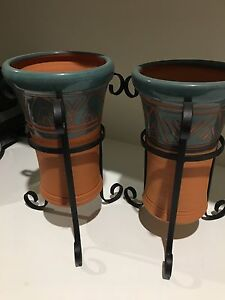 2 Terracotta wine coolers in wrought iron stand Merrimac Gold Coast City Preview