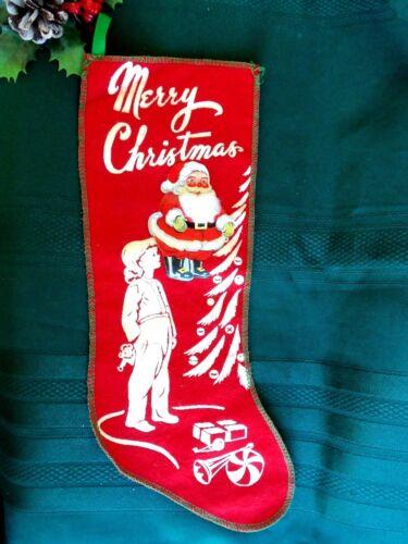 VINTAGE MERRY CHRISTMAS STENCILED STOCKING GIRL XMAS MORNING&SANTA STICKER BEARD