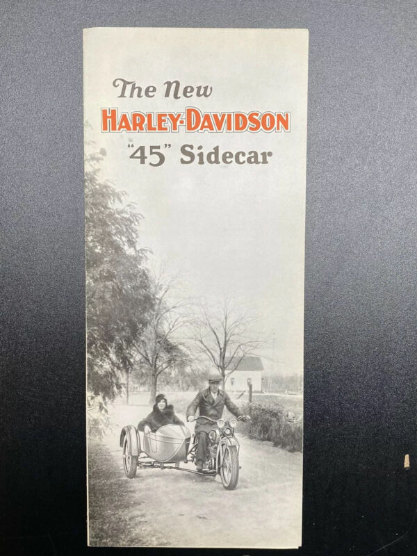 "Original Antique ""45"" Harley Brochure Sidecar Fold Out Sales Advertising Book"