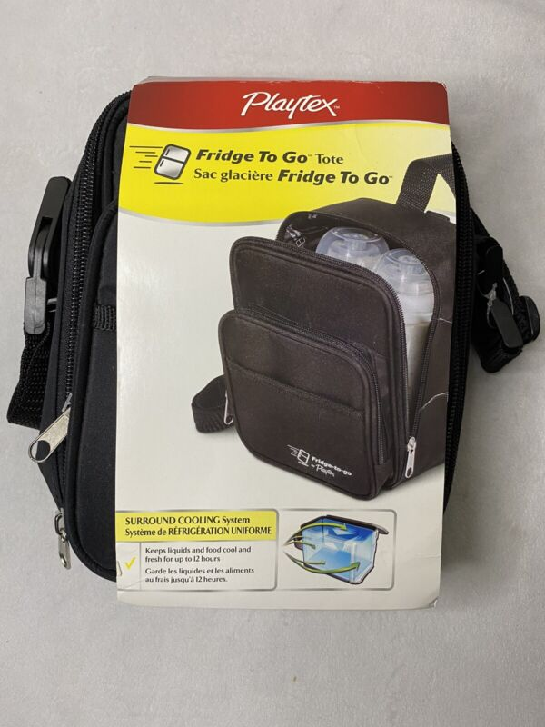 Playtex Fridge To Go Tote Built In Cooling Panels Black Bottle Travel Baby Feed