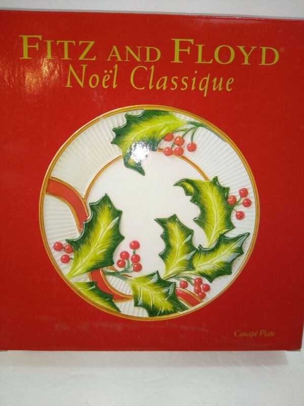 Fitz & Floyd Canape Plate NOEL CLASSIQUE 2004 3D Design Retired