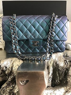 NWT CHANEL 2017 IRIDESCENT Turquoise Purple Medium Classic Flap RAINBOW Mermaid