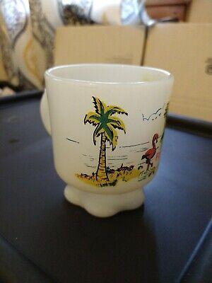 Vintage Anchor Hocking FIRE KING Florida Flamingo Advertising Mug Souvenir