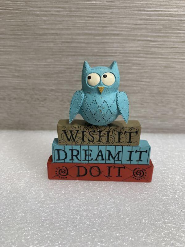 "Blossom Bucket Owl ""Wish It, Dream It, Do It""  Decoration ~3"" x 3"""