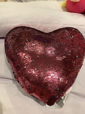 "Idea Nuova Heart Sequin Throw Pillow, 12"" x 12""- Silver & Pink"