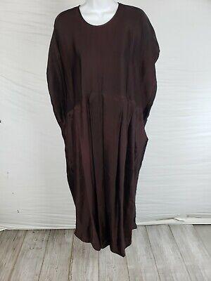 EUC Uma Wang Dark Purple Oversized Pleated Short Sleeve Dress Size Medium