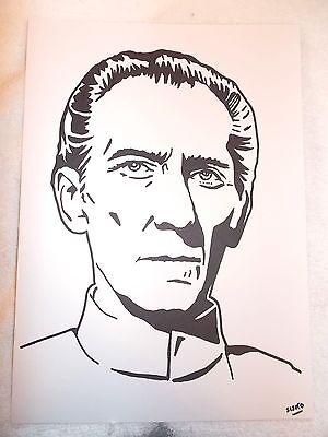 A4 Black Ink Marker Pen Sketch Actor Peter Cushing Moff Wilhuff Tarkin Star Wars