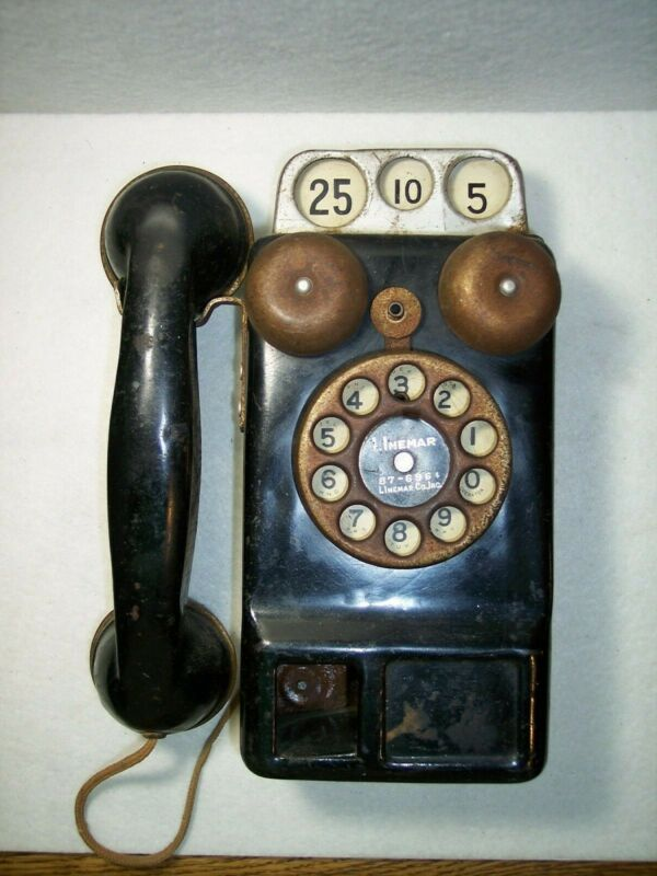 VINTAGE LINEMAR CO. INC.- PAY PHONE- TIN TOY 3-SLOT ROTARY DIAL WORKS AND RINGS