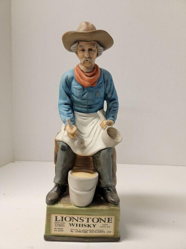 "1969 Lionstone Whisky Decanter ""Camp Cook"" Empty western figurine bareware"