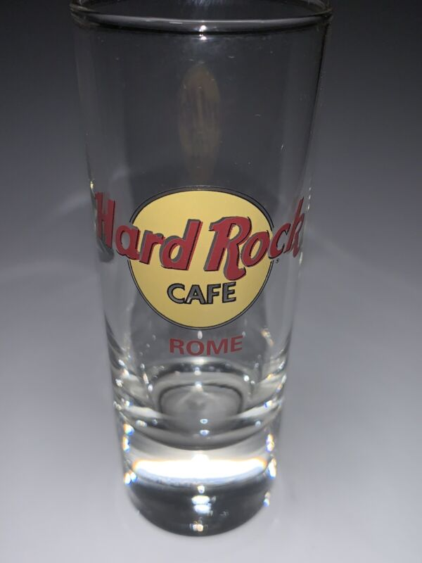 "Hard Rock Cafe Rome Classic Logo 4"" Shot Glass With Double Black Circle"