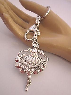 Schlüsselanhänger Taschen Anhänger XL Strass Tänzerin Prima Ballerina Silber