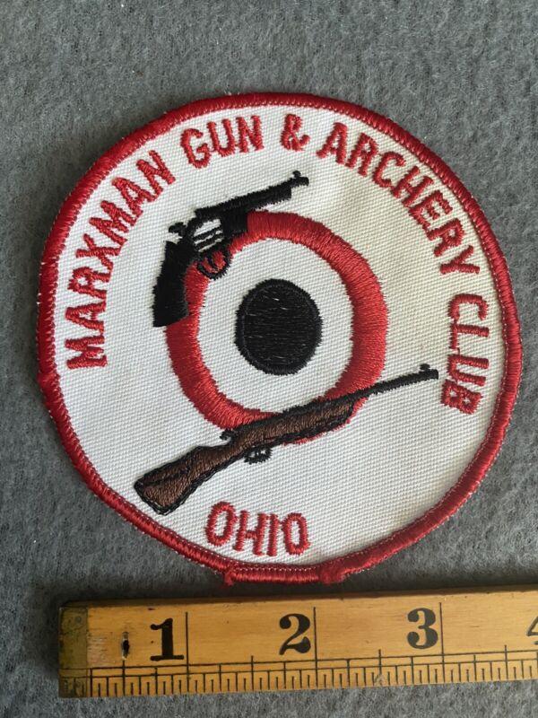 """Marxman Gun & Archery Club Ohio 4"""" Round Vintage Patch Gauze Back B2"""