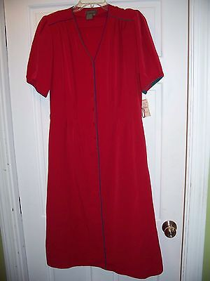 NWT Vintage Epitome Red Short Sleeve Career Dress Size 10 Pleat Waist