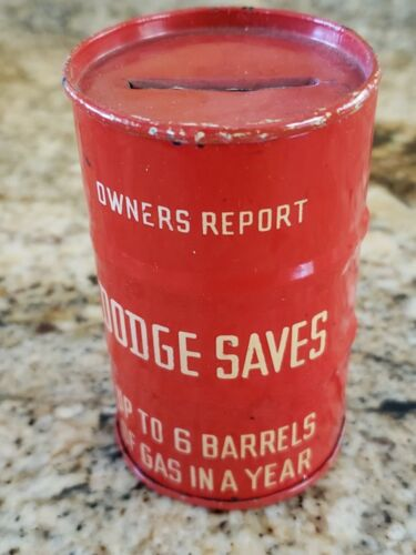 """Vintage Dodge Red Barrel Shape Coin Bank 3"""" Metal Oil Can Gas Sign Nice Conditin"""