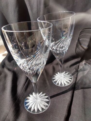 "A PAIR OF ATLANTIS FLIGHT CUT CRYSTAL STEMWARE 8 & 1/8"" WATER GLASSES"