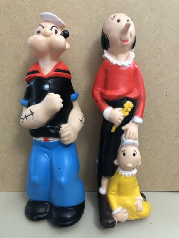 1979 Cribmates Olive Oyl & Popeye Baby Squeeze Toys by King Features Syndicate