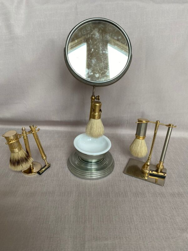 Antique Shaving Mirror Set, And 2 Shaver And Brush Set / Adjustable Stands
