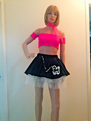 NEW-WOMENS 4 PC PINK/BLACK CUSTOM SEXY 50s POODLE HALLOWEEN COSTUME-FITS S/M  - Pink And Black Halloween Costumes