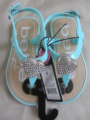 Bebe Girls Sandals Toddler Girls Size L 9/10 Mint Green Heart New With Tag