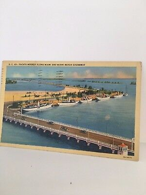 YACHTS MOORED ALONG MIAMI AND MIAMI BEACH CAUSEWAY, FL. SOLDIER'S MAIL 1944