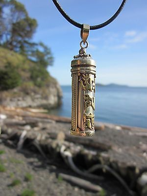 SUPERIOR QUALITY SILVER & BRASS BUDDHIST GHAU BOX STORE PENDANT LEATHER NECKLACE