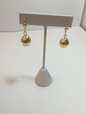 14K GOLD PLATED 13MM BALL DANGLING FROM LEVER BACK EAR WIRE J 251 14k Gold Plated Wire