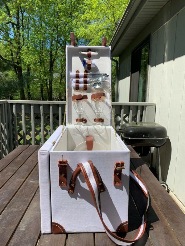Vintage Stella Artois White Canvas Picnic Basket & Table Set