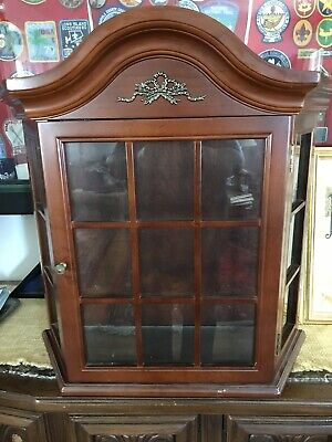 Bombay Company Glass Curio Cabinet  Vintage Wall Mount Shelf Display for sale  Schenectady