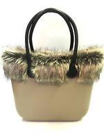 Borsa O Bag Grande Sabbia+manici Lunghi Marroni+bordo In Eco Pelliccia+sacca Nat Beige-  - ebay.it