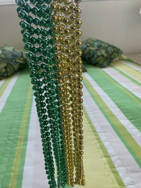 Mardi Gras Beads Necklaces  Green & Gold Lot of 10