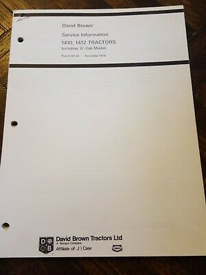 David Brown 1410 1412 Tractors Original Service Manual Q Cabs