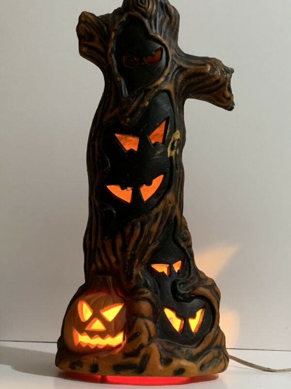 Vtg 1993 Trendmasters Light Up Blow Mold Halloween Spooky Eye Tree Stump Awesome