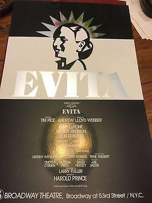 """EVITA""- ORIGINAL BROADWAY POSTER - PATTI LUPONE- FOIL"