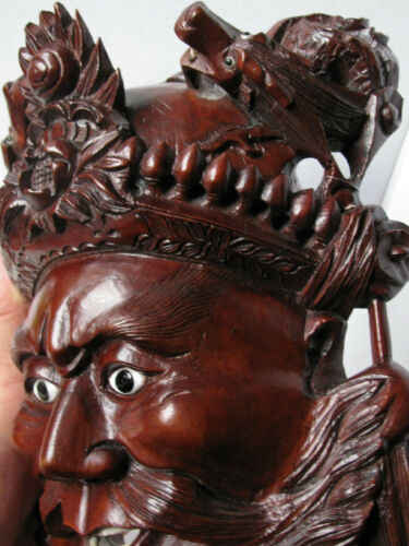 Antique Chinese Over-Door Carved Wood Head Bearded Man, POWERFULL, Dragons- RARE