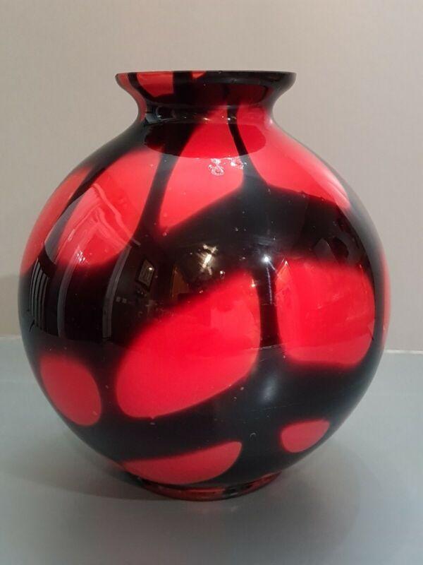 BOHEMIAN CZECH KRALIK RED TANGO ART DECO GLASS VASE APPLIED AMETHYST WEBBING