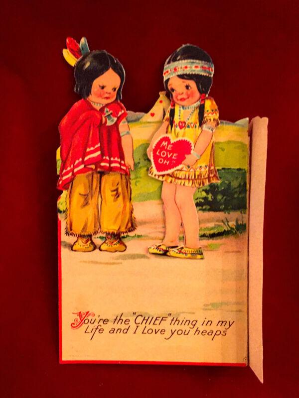 Vintage German Indian Chief Children Mechanical Valentine Card