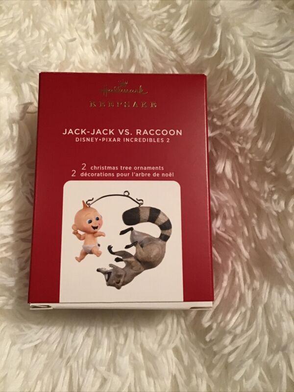 JACK JACK VS. RACCOON Disney Pixar Incredibles 2020 Hallmark Ornament  Set of 2