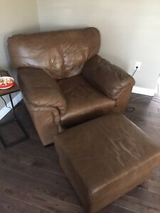 Brown leather sofa, chair and ottoman