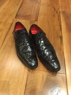 JEFFERY WEST LEMMY Leather Black Brogue Size UK-7
