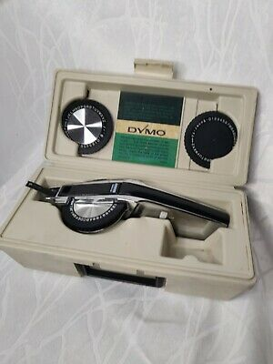 Vintage Dymo 1550 Labeling Kit Tapewriter Wheel Bundle W Hard Carrying Case