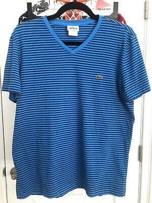 Men's Lacost Regular Fit V Neck Striped Pima Cotton T-Shirt Size 4 Medium